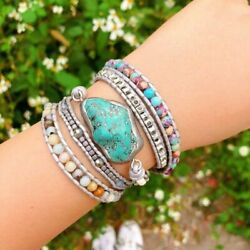 Wrap Leather Bracelet Gift Multi-layer for Women with Turquoise Charm Beads Hot
