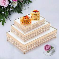 Gold Crystal Mirror Cake Cupcake Stand Storage Tray Pallets Pastry Accessories