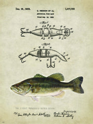 Vintage bass lure patent reproduction metal sign fishing cabin decor