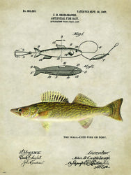 Vintage Walleye Pike lure patent reproduction metal sign fishing cabin decor