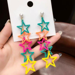 Creative Lovely Long Tassel Colorful Stars Drop Earrings Funny Cute Solid Female