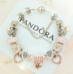 Authentic PANDORA Bracelet Silver with Pink Love Heart European Charms New