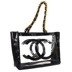 Authentic CHANEL CC Logos Chain Shoulder Tote Bag Black Clear Viny