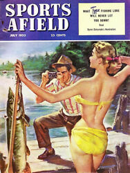 Vintage 1953 Sports Afield magazine cover reproduction steel sign cabin decor