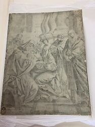 16th Century Graphite On Paper Lady Madeline And Baby Jesus By Eustache Le Sueur