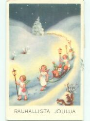 foreign Pre-1980 Christmas CUTE ANGELS PULLING GIFTS ON TOBOGGAN SLEDS AC6761