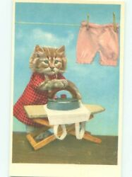 foreign Pre-1980 HUMANIZED CAT DOING THE IRONING AC6870
