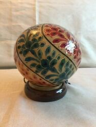 Handmade Lamp Camel Skin Small Size Round Red Green Flower figured from Pakistan $54.99