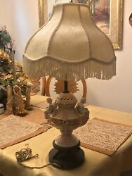 Vintage Antique lamp CAPODIMONTE PORCELAIN RARE Gold Shade $370.00