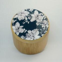 BAMBOO WOODEN STORAGE BOX JEWELLERY KEEPSAKES TRINKET BOX FLORAL BLUE AND WHITE