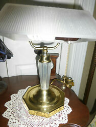 Vintage Antique Brass Glass Bankers Desk Accent Reading Piano Lamp