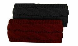 2 Pack Knit Headband Ear Warmer Headbands One Size Fits Most Burgundy and Black $10.74
