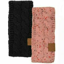 2 Pack of Knit Headband Ear Warmer One Size Fits Most Burgundy and Confetti Pink $9.99