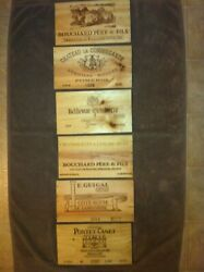 6 Different French wooden wine box end panels