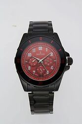 NEW Charles Latour 10049 Mens Conway Watch Multi Function Red Black Analog SS WR $40.95