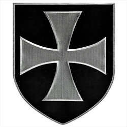 VEGASBEE® LARGE IRON CROSS SHIELD TEMPLAR KNIGHTS CHRISTIAN IRON-ON PATCH 12