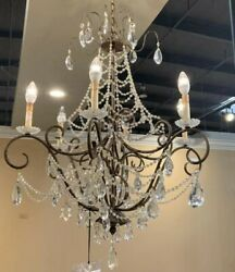 CLASSIC ANTIQUE CRYSTAL 6 LIGHT CHANDELIER $498.00