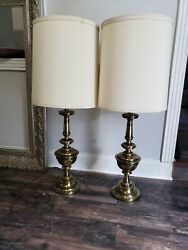 """Mint Pair 36"""" Stiffel Lamps Brass 3 Way With Lamp Shade 14"""" Wide Estate $399.00"""