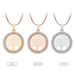 Women Fashion Crystal Rhinestone Tree Of Life Lucky Charm Chain Pendant Necklace