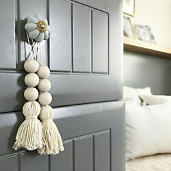 Nordic Style Wooden Beads Tassel Pendant Room Decor Wall Hanging Ornament W $4.26