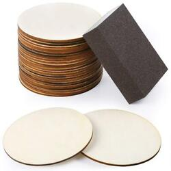 25 Pieces 4 Inch Unfinished Wood Circle Round Natural Rustic Wooden Cutout