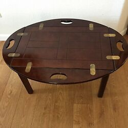Vintage Bombay Company Coffee Table Butler Tray With Stand Fold Up Sides