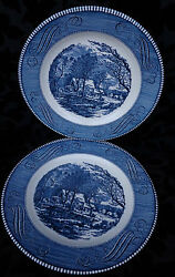 CURRIER & IVES BY ROYAL THE OLD GRIST MILL 4 DINNER PLATES UNDERGLAZE TINT USA