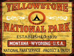Vintage Yellowstone National Park poster reproduction steel sign cabin decor
