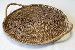 Pampered Chef Woven Selections Round Wicker Rattan 17