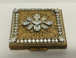 Vintage WIESNER of MIAMI Rhinestone Filigree Compact Vanity Collectible