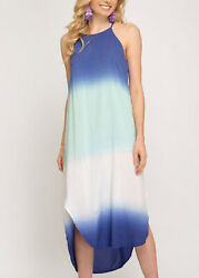 She + Sky Ombre Dyed Blue Mint Woven Midi Cami Dress Round Hem Size Small - NWT