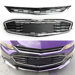 Honeycomb Mesh Chrome Front Bumper Upper&Lower Grille For Chevy Malibu 2016-2017