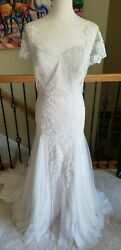 NEW! $1600 Wtoo Willowby 50600 Lian Ivory Nude Lace Wedding Dress Size 12 $350.00