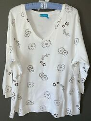 2X FRESH PRODUCE White brown FLORAL 34 Sleeve LOGO FEM TEE TOP New NWOT cotton