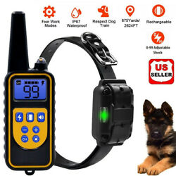 Dog Shock Training Collar Rechargeable Remote Control Waterproof IP67 875 Yards $26.68