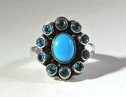 Nicky Butler NB Turquoise & Blue Topaz Sterling Silver Ring ~ Size 7.75