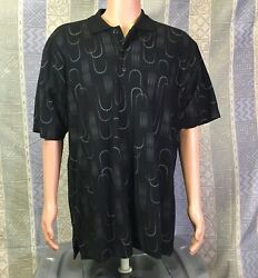 AXIS -  Men's Axis Short Sleeve  Polo Shirt -  Black /Colored Geometric Shapes L $12.99