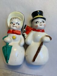 AMAZING Vintage Christmas Frosty Snowman Salt & Pepper Shakers #FR