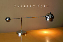 SUPERB! MID CENTURY MODERN ARREDOLUCE SWING ARM DESK LAMP! CHROME VTG 50'S 60'S