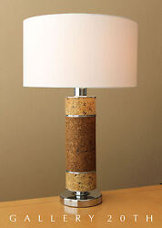 WOW! LAUREL MID CENTURY MODERN CORK TABLE LAMP! ATOMIC VTG 60S LIGHT CHROME DESK