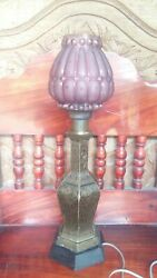 Rare old brass desk lamp large traditional With antique glass cover