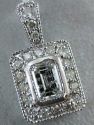 ESTATE 1.56CTW EMERALD CUT HALO DIAMOND SOLITAIRE 14K W GOLD PENDANT L1321.30.39