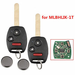 2x Replacement For Honda 2007 2008 2009 2010 2011 2012 2013 CR-V Remote Key Fob