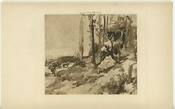 ANTIQUE WOMAN CHEVALIER HIKING CLIMB HERMITAGE HORSE CARRIAGE NATURE OLD PRINT