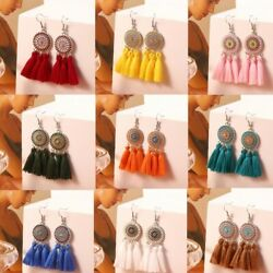 Xmas Gift Women Bohemian Long Tassel Creative Sun Shape Pendant Earrings