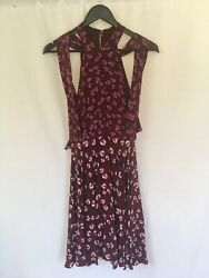 NEW GUCCI Size IT 40 (UK 8) Heart & Beach Ball Print 100% Silk Dress Burgundy