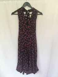 NEW GUCCI Size IT 40 (UK 8) Heart & Beach Ball Print 100% Silk Dress Navy Blue
