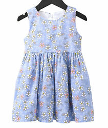 Girls Party Dresses Sleeveless Dress Casual Cotton Flower Printed Kids Wear $15.49