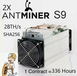 Bitcoin Mining contract 336Hr 28THs - 2X Antminer s9 - SHA256 - 7 Day