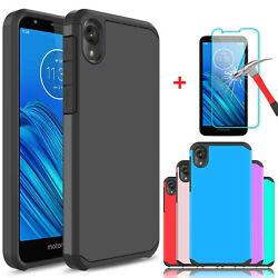 For Motorola Moto E6 Shockproof Case Cover With Tempered Glass Screen Protector